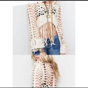 UNIF Cream Fringe Crochet Festival Top L